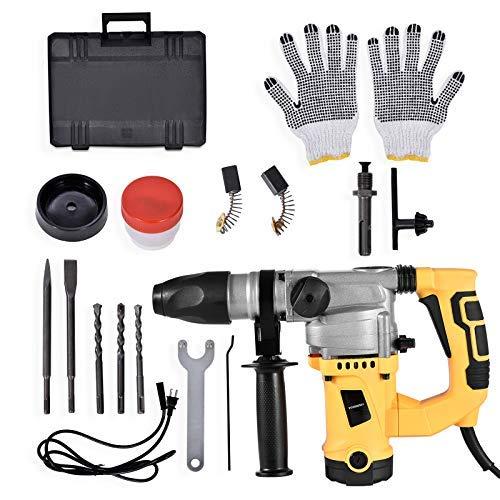 Professional Bohrhammer, WIUANG 10J 1300W Schlagbohrmaschine mit SDS-Plus und 3 Funktionen in 1, 4000BPM und 950RPM, Vibrationsdämpfung und Schnellspann-Bohrfutter