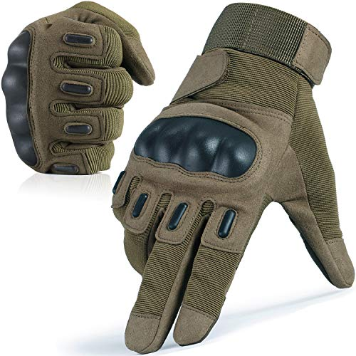 WTACTFUL Touchscreen Army Tactical Gloves Military Full Finger Gloves for Cycling Motorcycle Motorbike Hunting Hiking Airsoft Paintball Shooting Combat Training Sports Gear Green Large