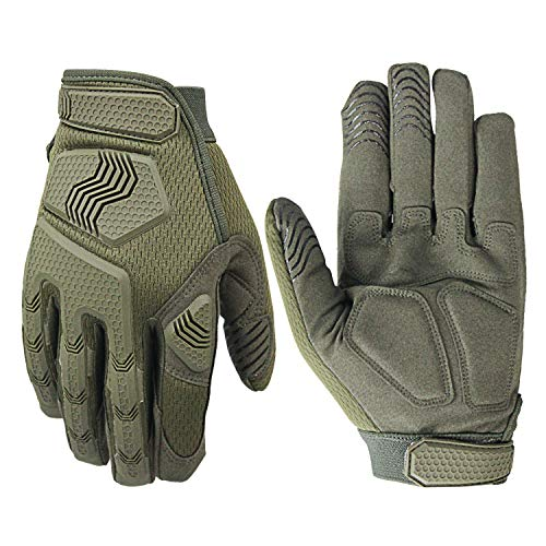 Military Rubber Knuckle Guard Full Finger Tactical Gloves for Airsoft Hunting Cycling Motorbike (Green, XL)