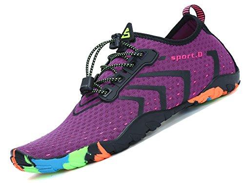 Zapatos de Agua para Buceo Snorkel Surf Piscina Playa Vela Mar Río Aqua Cycling Deportes Acuáticos Calzado de Natación Escarpines para Mujer Púrpura, 38 EU