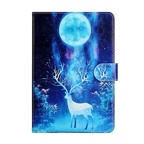 Miagon Tablet Hülle für Samsung Galaxy Tab S5e T720 {10.5 Zoll},PU Leder Flip Brieftasche Case mit Standfunktion Kartenschlitz Stoßfest Cover,Mond Elch