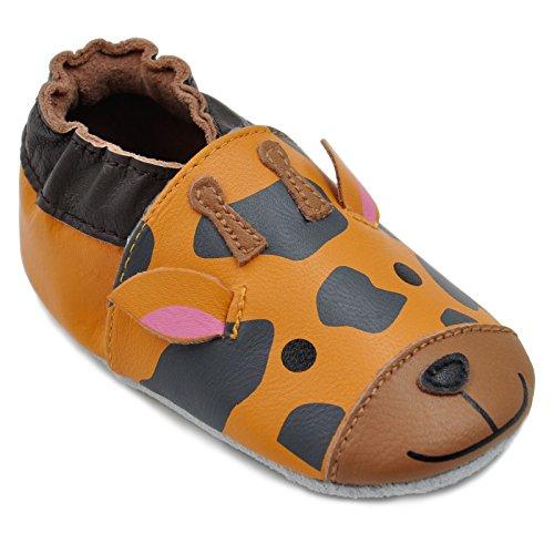 Momo Baby Unisex First Walker Toddler Soft Sole Leather Shoes 18M orange...