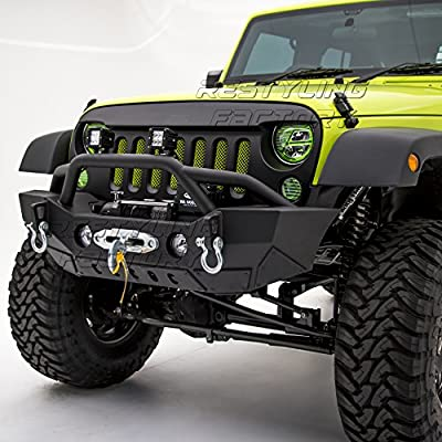Restyling Factory 07-16 Jeep Wrangler JK Rock Crawler Front Bumper With Fog Lights Hole & Built In Winch Plate -Textured
