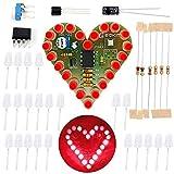 Icstation Electronics Kits DIY Solder Kit Heart Shaped Led Light Soldering Practice (Red, 1pc)