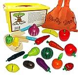 WoodyWood Schneidebrett Obst Gemüse 39tlg. Schneideset mit Klettverbindung aus Holz für Kinder...