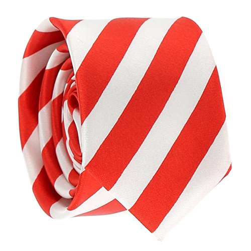 Cravate Rayures Larges Rouge et Blanche - Cravate rayée