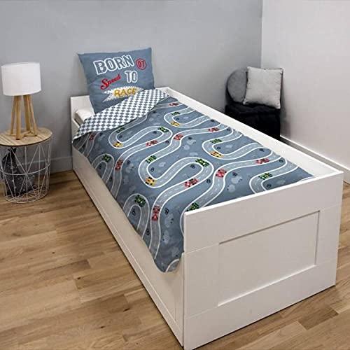 Funda de edredón Circuit, gris, para niño, 140 x 200 cm, 1 persona, 100 % algodón.