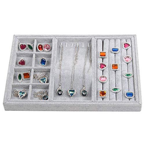 Bandeja apilable de terciopelo para joyas, estuche de exhibición de inserción de cajón de aretes, organizador de tocador, caja de almacenamiento de soporte de collar