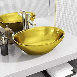 Tidyard Lavabo de cerámic sobre encimera Lavabos de baño 40x33x13,5 cm cerámica Dorado