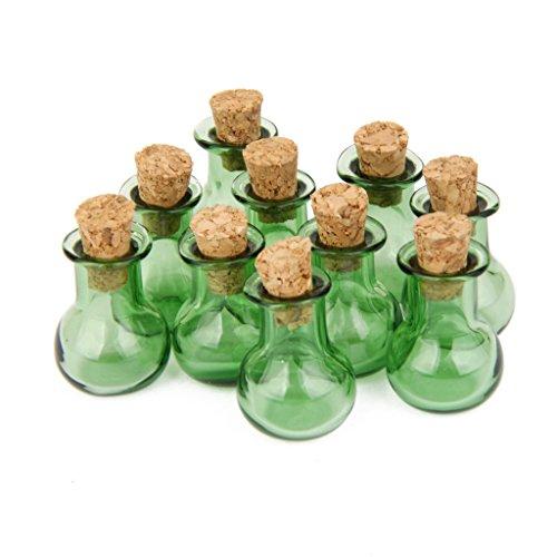 Unbekannt 10 Glasflaschen Korken Flache Basis Glaeser Durchstechflasche, Flasche DIY Anhaenger Gruen