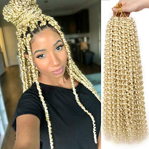 7 Packs Passion Twists Hair 18 Inch Blonde Water Wave Crochet Hair For Butterfly Locs 22 Strands Crochet Braids Hair Synthetic Braiding Hair Extension For Black Women (18 Inch,613#)