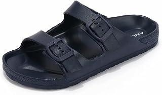 Sponsored Ad - ANLUKE Kids Comfort Slides Sandals for Girls Boys Summer Slip on EVA Sandals with Adjustable Strap Buckle