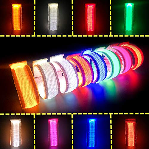 LED Glow Bracelets Light Up Wristbands Flashing Arm Wrist Bands, Flashing Sports Wristband Pack of 8 Glow in The Christmas Dark Party Supplies for Concerts, Festivals, Sports, Parties, Night Even