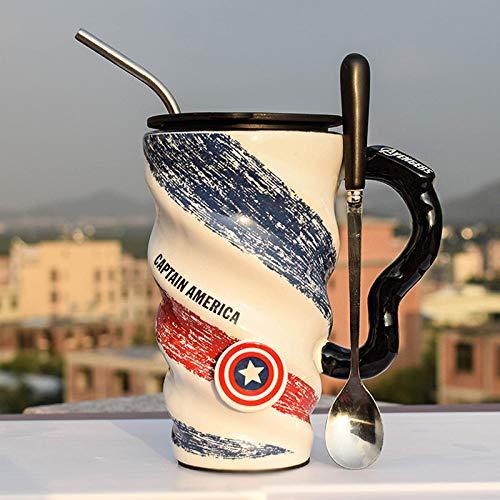 zipkp Taza De Café De Cerámica Taza En Espiral Cuchara De Gran Capacidad Pajita Capitán América-Vengadores-Capitán América (Tapa + Tubo De Acero Inoxidable + Cuchara)