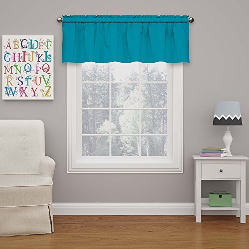 """Eclipse Rod Pocket Curtains for Kitchen and Living Room, 42"""" x 18"""", Rich Teal"""