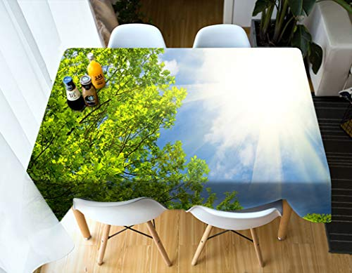 Rubyia Mantel Antimanchas, Table Cloth Árbol Bajo el Sol Tramas para Mesa Cocina, Poliester, 110 x 170 cm, Verde Blanco