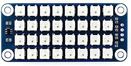 Waveshare RGB LED HAT True Color Onboard 4 × 8 RGB LED Display Colorful Effect Controlled by Only One Signal Pin Supports Any Revision of Raspberry Pi