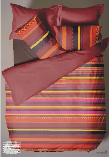 Bedwise DOUBLE BED SIZE DUVET/QUILT COVER SET RIO SPICE RED TERRACOTTA PINK YELLOW ORANGE STRIPES LINES CIRCLES DOTS BEDDING