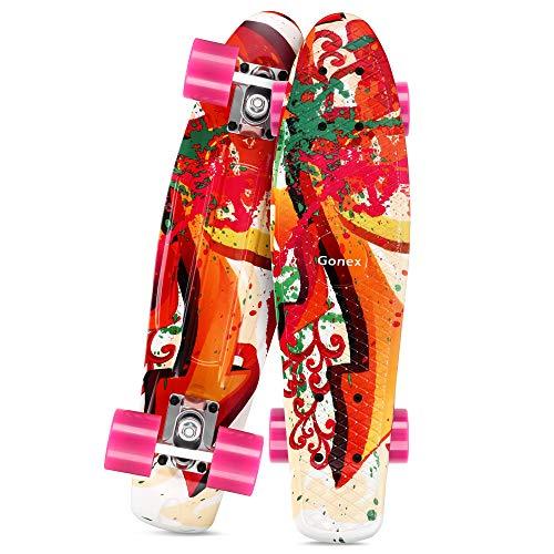 Gonex 22 Inch Skateboard for Girls Boys Kids Beginners, Mini Cruiser Skateboard Plastic Skateboard Complete for Teens Youths, Pink