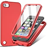 iPod Touch 7 Case, iPod Touch 6/5 Case,Shockproof Silicone Case with Built-in Screen Protector for Girls Boys, Slim Full Body Rugged Protective Cover for Apple iPod Touch 7th/6th/5th Generation (Red)