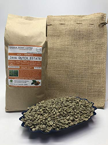 5 Pounds – Indonesian – Java Dutch Estate – Unroasted Arabica Green Coffee Beans – Grown Island Of Java– Altitude 1100-1200M – Drying/Milling Process Is Giling Basah – Typica – Includes Burlap Bag