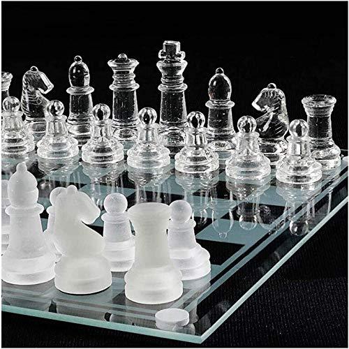 Juego de ajedrez de cristal esmerilado y pulido juego de tablero de ajedrez de cristal con parte inferior de cristal para niños y adultos (tamaño: 30 x 30 cm)