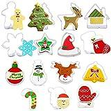ZSWQ Moldes para Galletas Navidad,15 Pcs Acero Inoxidable Galletas Cortador para Cookie, Fondant, Formas Navideña Variadas Fiesta Navidad Galletas