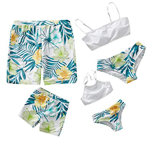 Kehen Daddy Mommy and Me Family Matching Swimsuit Parent-Child Summer Outfit Swimwear Women - Small White