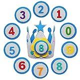 YMIFEEY Corona Cumpleaños Corona Fiestas Niño Niña Corona de Cumpleaños Infantil Corona de Tela Fieltro Corona de Cumpleaños para Niños y Niñas con Números Intercambiables del 0 al 9 (Azul)