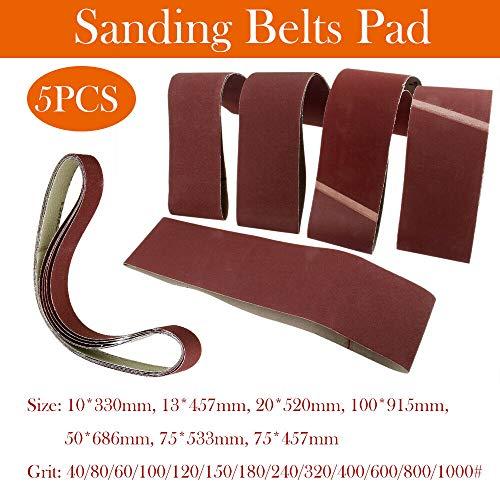 20 unidades, tejido mixto, 75 x 533 mm, 2 de 40, 60, 80, 120 y 180 Bandas de lija para lijadora de banda