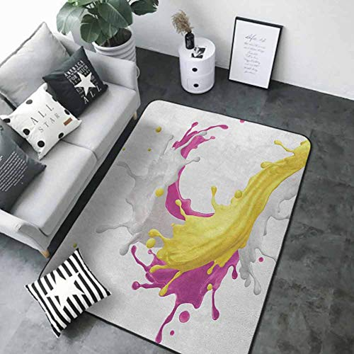 Outdoor Kitchen Room Floor Mat Colorful,Mixed Fruit Drink Splash Photo Strawberry Banana Milk Sweet Fountain, Pink Yellow and White 84 x 60 in Kids Rugs for playroom