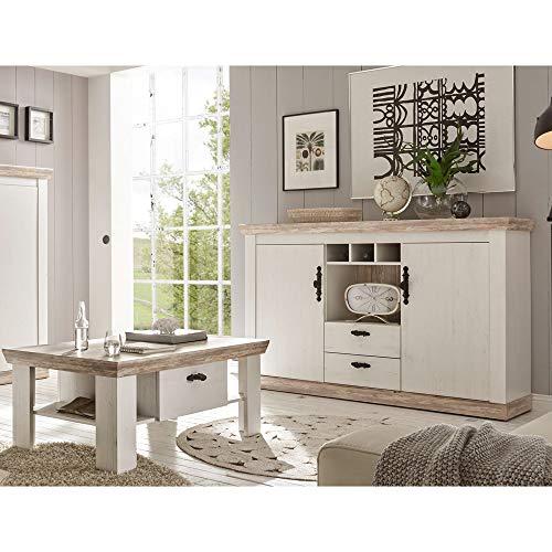 Lomadox Landhaus Wohnmöbel Set Sideboard mit Couchtisch in Pinie weiß und Oslo dunkel