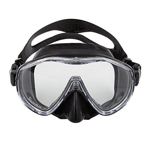 LouisaYork Snorkel Scuba Mask, Scuba - Máscara de Buceo, Vista Marina, 180 Gafas panorámicas, diseño de respiración, Anti Niebla, antifugas, para Adultos, Hombres, Mujeres, niños, Negro, 164 * 84mm