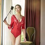 Gdofkh Todo-en-uno pestañas Sexy Encaje Sexy Pijama Blanco lencería Sexy Conjunto Uniforme Halter Body