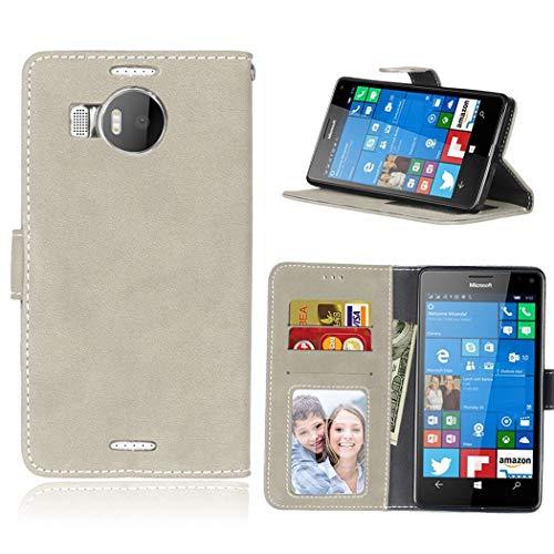 Ycloud Portafoglio Custodia per Nokia Microsoft Lumia 950XL Smartphone, Opaca Texture PU Pelle Magnetica Flip Caso Cover con Fessura Carte e Funzione Staffa (Grigio)