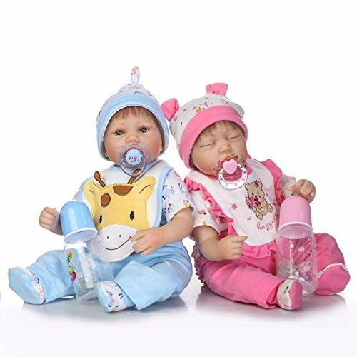 Pinky Realista y Hecho a Mano 17 Pulgadas 43cm Suave Silicona Bebés Reborn Las Gemela Muñecos bebé Vinilo Realista Muñeca Recién Nacida Niño y Dormir Niña Twins (Twins)