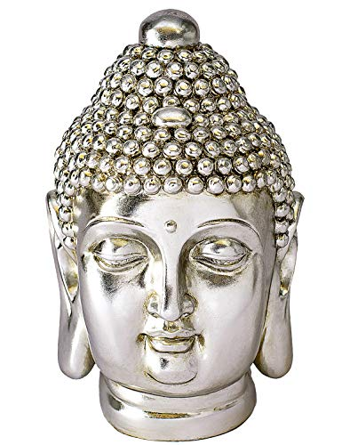 NRMEI Large Size Buddha Head Statue Meditating Shakyamuni Bust Sculpture Housewarming Gift from Asian Zen Blessing Ornament Chinese Feng Shui Idea Modern Tibetan Style(14' H Champagne)