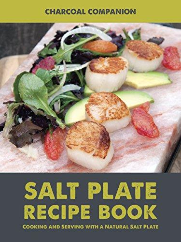 Charcoal Companion CC7167 Himalayan Salt Plate & Holder Set with Salt Plate Recipe Book, 8 x 12