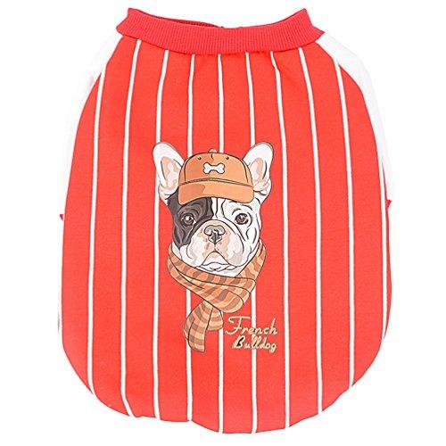 SMALLLEE_LUKCY_STORE Hundemantel Hundejacke Pullover Französische Bulldogge Winter Fleece Hunde Kleidung Bulldogge Streifen Baseball Jacke für Kleine Hunde Rot L