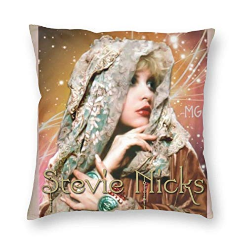 YZBEDSET Velvet Soft Luxury Decorative Square Throw Pillow Case Engagement Present, Stevie Nicks Music Poster Bedbug Proof Cushion Case for Sofa Bedroom