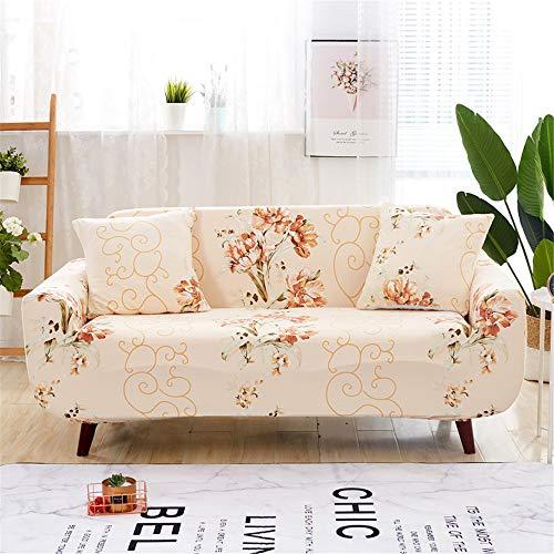 Surwin Funda de Sofá Elástica para Sofá de 1 2 3 4 plazas, Impresión Universal Cubierta de Sofá Cubre Moda Sofá Antideslizante Sofa Couch Cover Protector (Flores,2 plazas - 145-185cm)