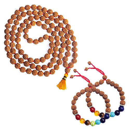 Wonder Care Rudraksha Natural 5 Face 6mm Mala mit 7 Chakra Rudraksha Armband - Echte Himalaya-Rudraksh-Samen Religiöse buddhistische Ornament Rosenkranz Japa Mala Perlenkette
