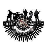 N / A 3D-Seven Colors-Remote Control-USB-Mute Orologio da Parete-Best Group Music Band Vinyl Record Orologio da Parete Simbolo Persone Cave Illuminazione Bar Segno Umore Luce Rock Musica Fan Rega