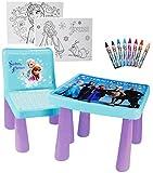 alles-meine.de GmbH Set: Tisch & Stuhl - incl. Malvorlagen + Stifte -  Disny die Eiskönigin - Frozn  - Maltisch / Zeichentisch / Schreibtisch / Spieltisch - für Kinder aus Kuns..