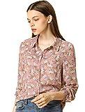 Allegra K Women's Button Down Floral Shirt Blouse Long Sleeve Point Collar Button Up Shirts Top Medium Pink