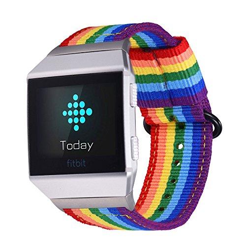 Preisvergleich Produktbild bandmax Armband für Fitbit Ionic,  Nylon Gewebe Gurt Ersatzarmband Regenbogen Denimstoff Wrist Armband Uhrenarmband für Fitbit Ionic