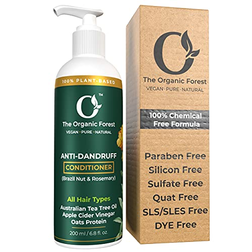 Organic Forest - 100% Chemical Free - Anti Dandruff Conditioner for Men, Women & Kids - Perfect for Dry and Frizzy Hair - Dandruff Treatment - Natural, Herbal, Ayurvedic - Organic, Vegan & Plant Based - 200 ML