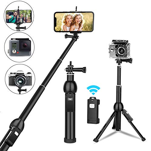 Selfie Stick, All in one Portable 45 Inch Selfie Stick Tripod Phone Tripod Stand with Wireless Remote for iPhone 11 Pro Max Xs Xr X 8 7 6 Plus Android Samsung Huawei OnePlus GoPro Max Hero8