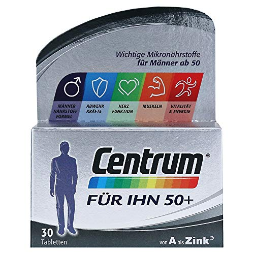 Centrum Für Ihn 50+ – Hochwertiges Nahrungsergänzungsmittel mit Mikronährstoffen – Speziell für Männer ab 50 – Vitamine, Mineralstoffe, Spurenelemente – 1 x 30 Tabletten