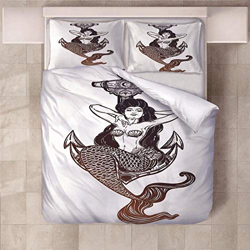 PERFECTPOT King Size Duvet Cover Set Mermaid Soft Bedding Quilt Set with 2 Pillowcases in Polyester with Zipper Closure for Children Boys Girls Adults, 230x220cm